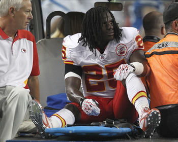 Jamaal Charles being carted off the field...to Dan Hill's dismay