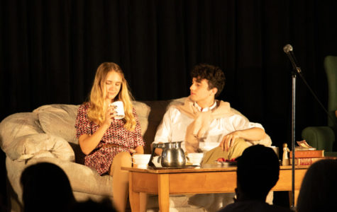 Fiona Starkweather, played by Emma Bednar, converses with Jordan Starkweather, her son, played by Nick Geoghegan, about their loss of a portion of Simon Starkweather's will.