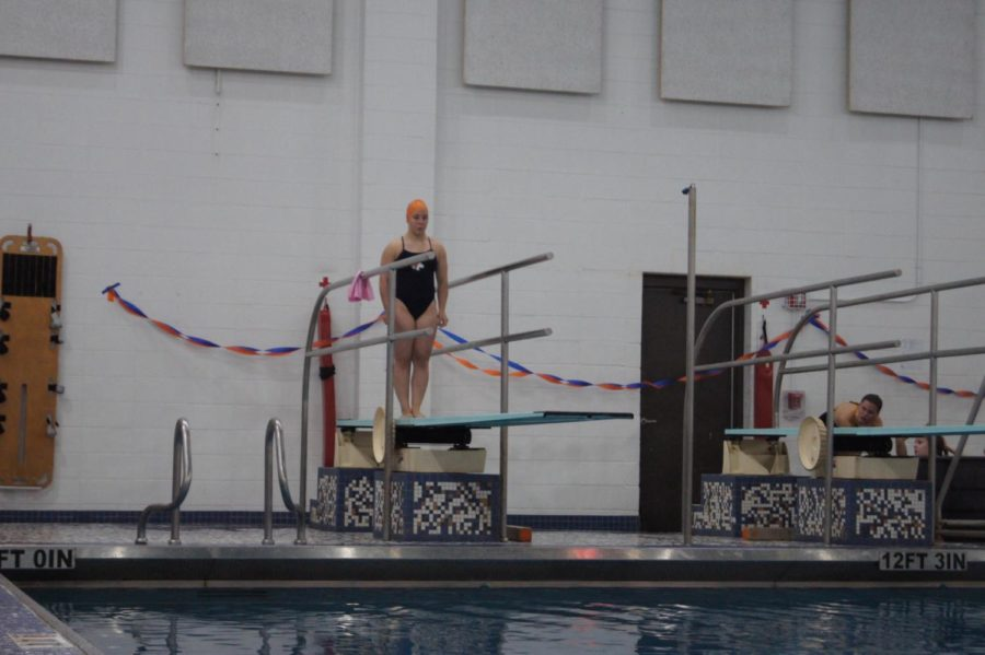 Senior dive captain Becky Jennings prepares for a dive. Jennings broke an overall varsity record at the meet. Her score of 258 points, beat the previous record of 250.8 points from 1985, according to Jennings.