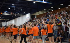 The Senior class celebrating their win in the 2019 Homecoming Olympics.