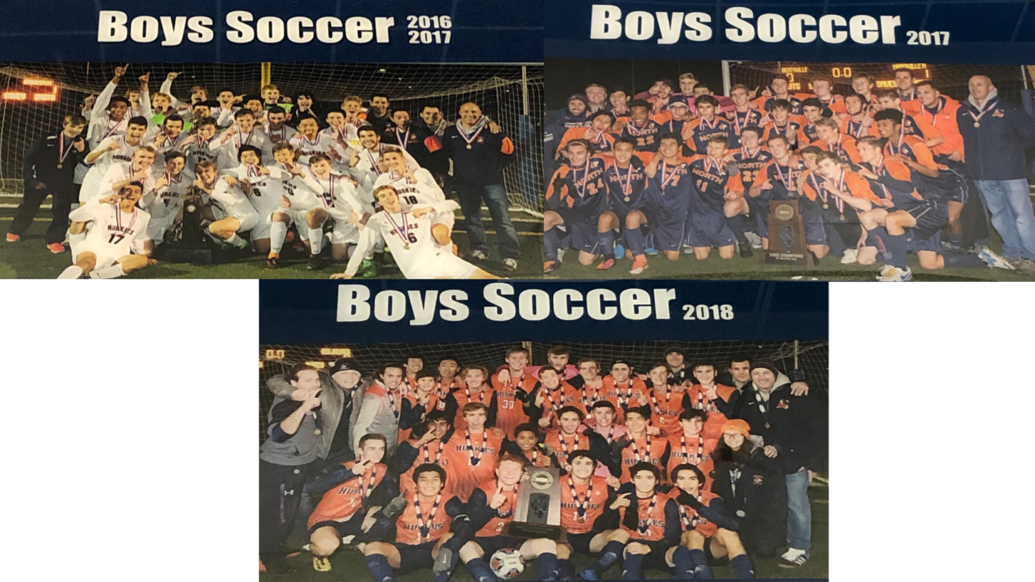 Top left: State Champions boys soccer team 2016-2017 Top right: State Champions boys soccer team 2017-2018 Bottom: State Champions boys soccer team 2018-2019