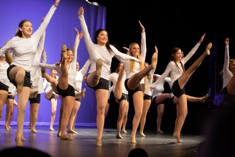 "Nadia Hansen, Emma Lin, Brooklyn Kuhny and Stephanie Uribe dance to ""Evacuate the Dancefloor"" by Cascada in the Orchesis show opener on Friday night."