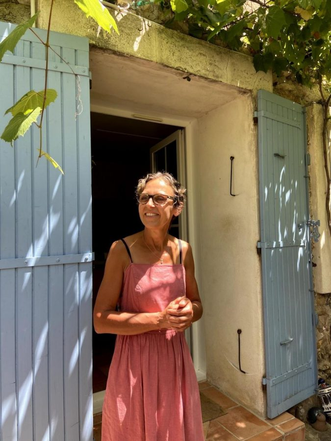 Sabine Sutur pictured outside of her hillside family vineyard in Vaison La Romaine, Provence, the French countryside.